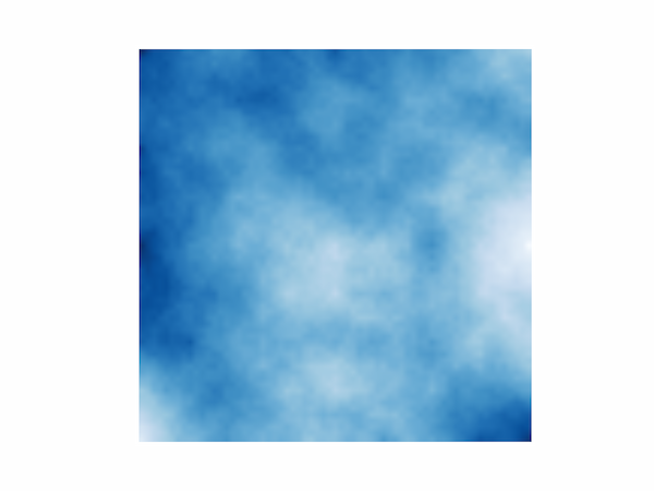 A virtual cloudy sky produced with the diamond-square algorithm