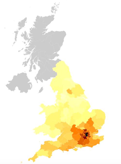 UK house price heatmap