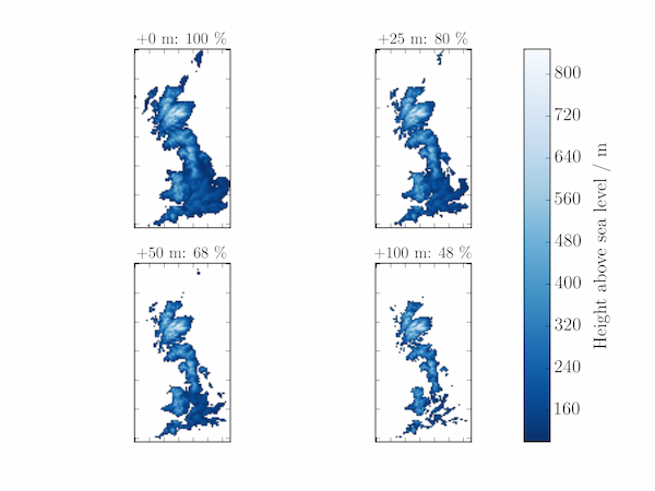 Sea level rise for Great Britain